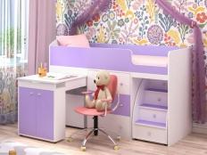 Кровать-чердак Малыш голубой/розовый/