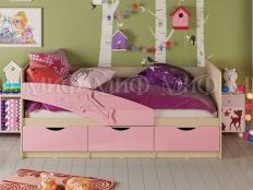 Кровать  Дельфин фасад 3D МДФ  розовый