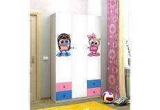 Шкаф 3-х дверный с ящиками и фотопечатью Совята-3.1